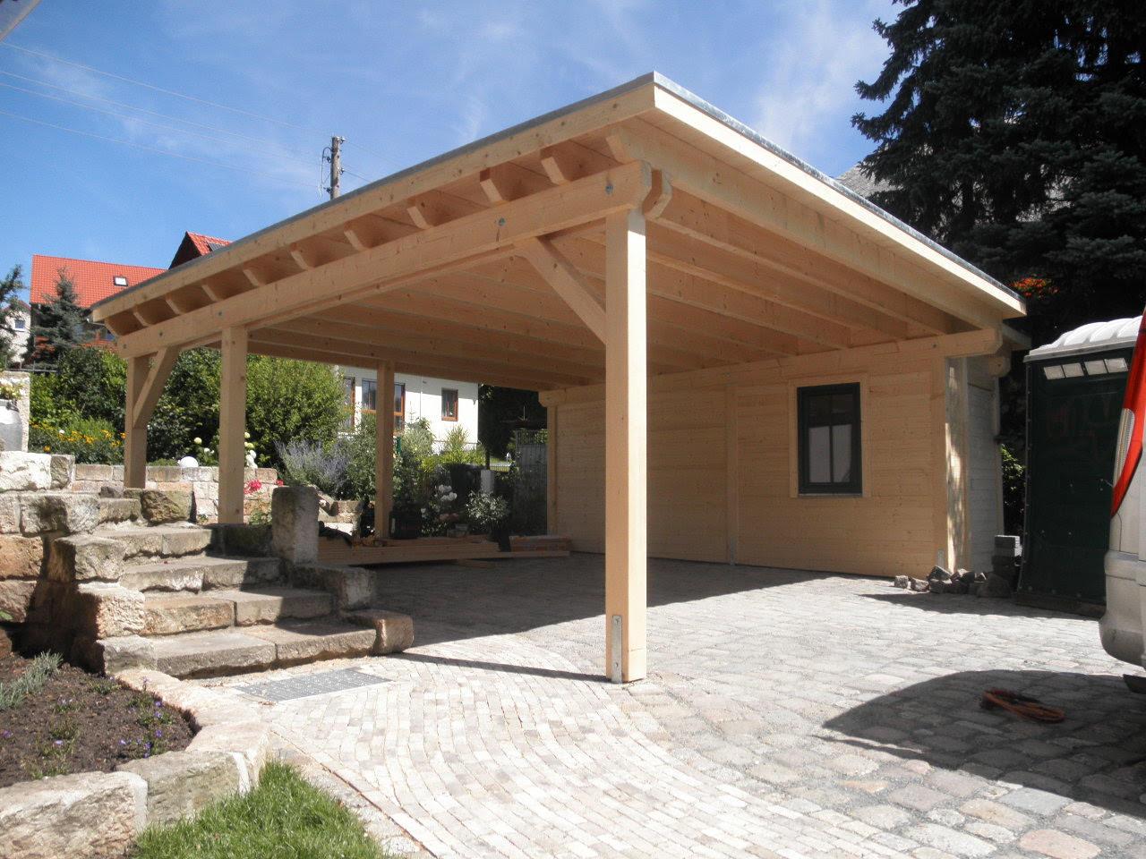 Überdachung Holz Stein