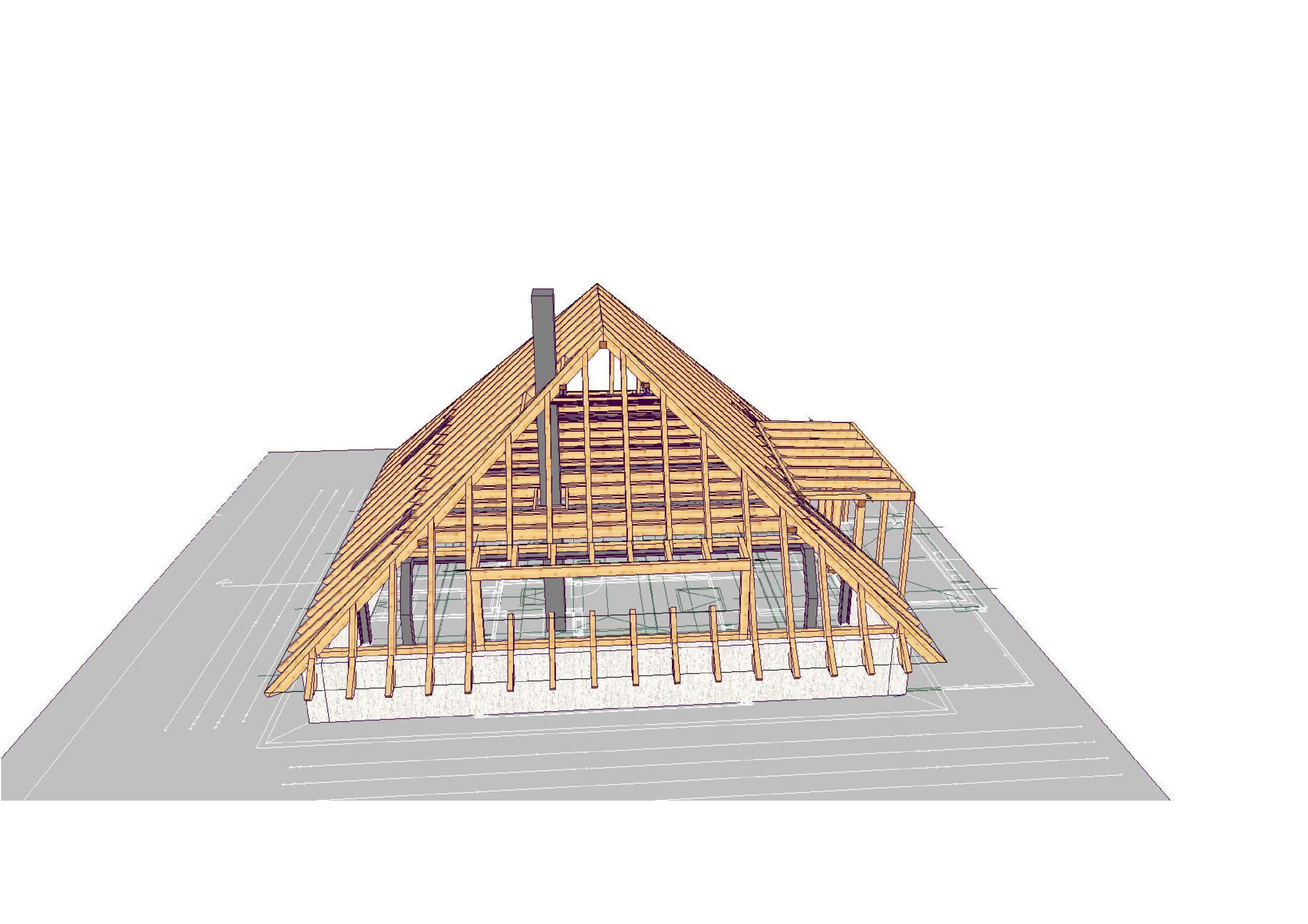 Dachstuhl und Dach im  Aufbau
